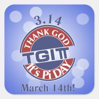 Adesivo Quadrado Deus do obrigado de TGIPi seu dia logotipo