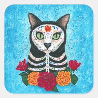 Adesivo Quadrado Dia da arte inoperante do gato do crânio do açúcar