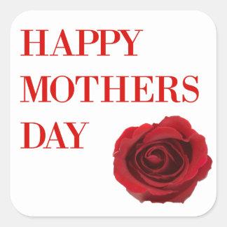 Adesivo Quadrado Dia das mães da rosa vermelha