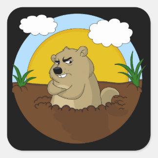 Adesivo Quadrado Dia de Groundhog