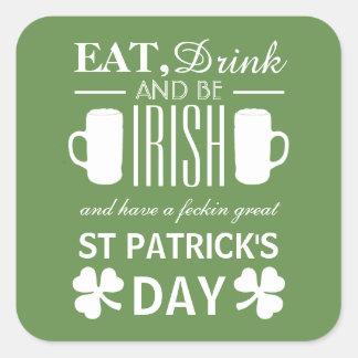 Adesivo Quadrado Dia de São Patrício do irlandês do trevo e da