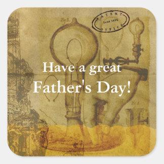 Adesivo Quadrado Dia dos pais do excelente da ampola de Steampunk