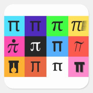 Adesivo Quadrado dia feliz do pi do colorblock