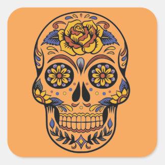 Adesivo Quadrado Dia mexicano do crânio do morto