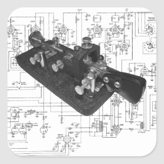 Adesivo Quadrado Diagrama esquemático chave de rádio do código