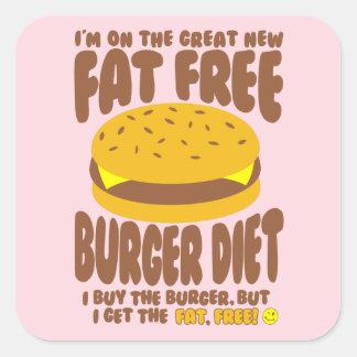 Adesivo Quadrado Dieta livre de gordura do hamburguer