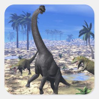 Adesivo Quadrado Dinossauro de ataque do brachiosaurus do