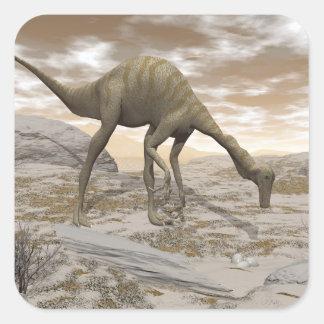Adesivo Quadrado Dinossauro de Gallimimus - 3D rendem