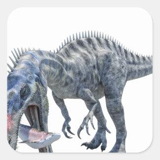 Adesivo Quadrado Dinossauro de Suchomimus que come um tubarão