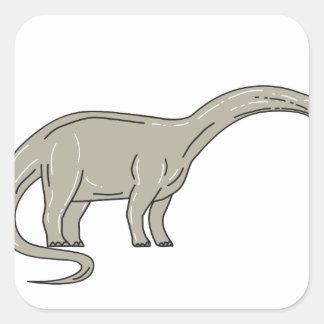 Adesivo Quadrado Dinossauro do Brontosaurus que olha abaixo da mono