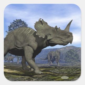 Adesivo Quadrado Dinossauros do Centrosaurus - 3D rendem
