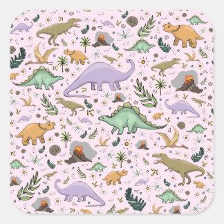Adesivo Quadrado Dinossauros no rosa