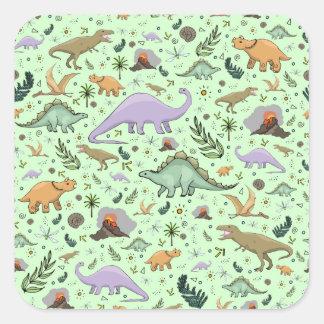 Adesivo Quadrado Dinossauros no verde