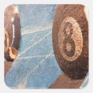 Adesivo Quadrado Disparado da ilustração das bolas de bilhar na