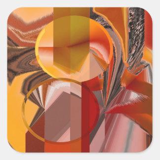 Adesivo Quadrado Dispositivo vermelho e abstrato da laranja