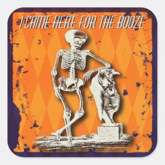 Adesivo Quadrado Divertimento e esqueleto parvo do Dia das Bruxas