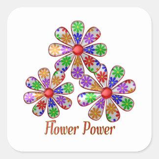 Adesivo Quadrado Divertimento flower power