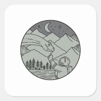 Adesivo Quadrado Do círculo tocante do Brontosaurus do astronauta
