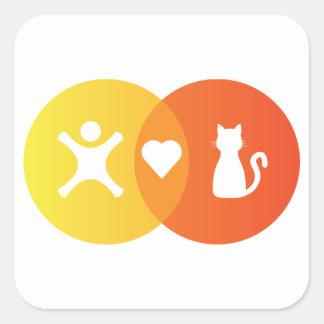 Adesivo Quadrado Do coração dos gatos pessoas do diagrama de Venn