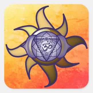 """Adesivo Quadrado Do """"etiqueta de Lotus da introspecção da ioga"""