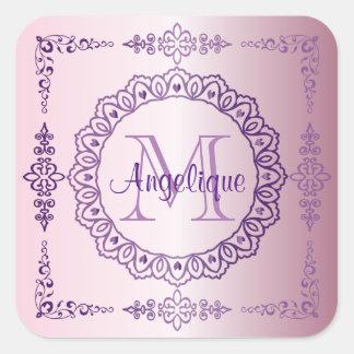 Adesivo Quadrado Do laço roxo do rico do quadro do monograma Lilac