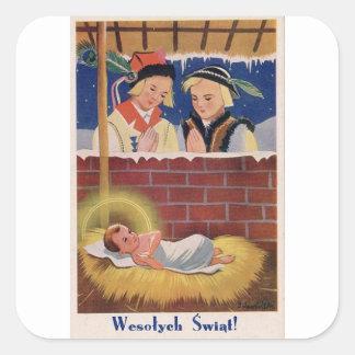 Adesivo Quadrado Do Natal polonês de Wesołyeh Świąt do vintage arte