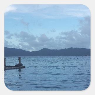 Adesivo Quadrado Doca do barco da ilha