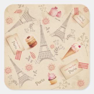 Adesivo Quadrado Doces de Paris do vintage