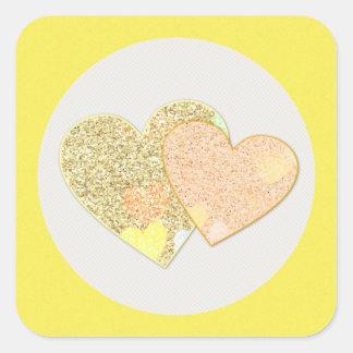 Adesivo Quadrado Dois corações do brilho do ouro