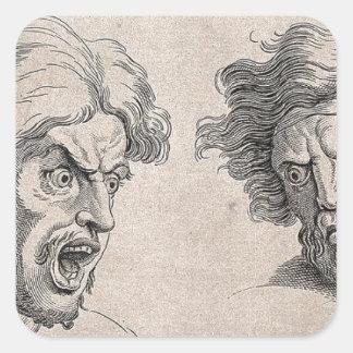 Adesivo Quadrado Dois desenhos das caras irritadas