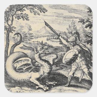Adesivo Quadrado Dragão contra o cavaleiro na armadura