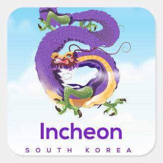 Adesivo Quadrado Dragão de Incheon Coreia do Sul