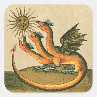 Adesivo Quadrado Dragões da alquimia de Clavis Artis