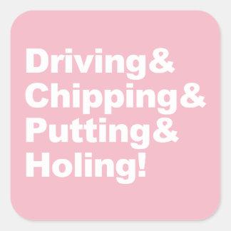 Adesivo Quadrado Driving&Chipping&Putting&Holing (branco)