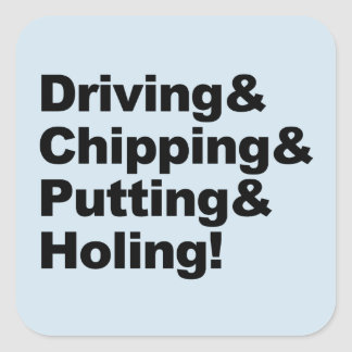 Adesivo Quadrado Driving&Chipping&Putting&Holing (preto)