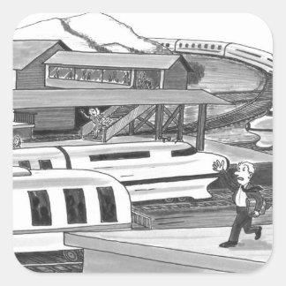 Adesivo Quadrado Duas pessoas que tentam travar trens