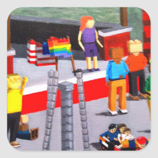 Adesivo Quadrado E.U. e bandeiras do orgulho feitas dos blocos