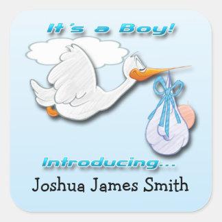 Adesivo Quadrado É um selo do envelope do anúncio do nascimento da