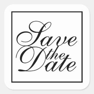 Adesivo Quadrado Economias elegantes preto e branco do casamento a