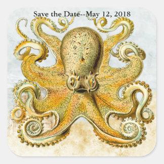 Adesivo Quadrado Economias náuticas do calamar de Kraken do polvo a