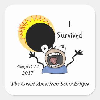 Adesivo Quadrado Edição da sobrevivência do eclipse 2017 solar