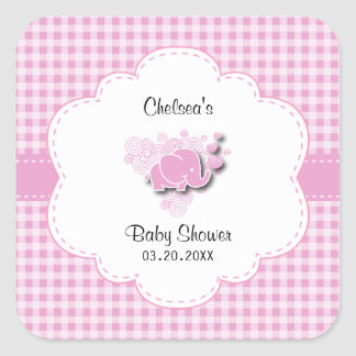 Adesivo Quadrado Elefante cor-de-rosa & branco do bebê da xadrez