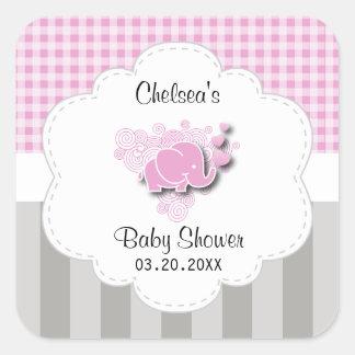 Adesivo Quadrado Elefante cor-de-rosa & branco do bebê das listras
