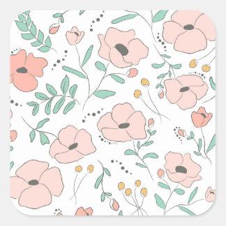 Adesivo Quadrado Elegant seamless pattern with flowers, vector illu