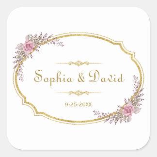 Adesivo Quadrado Elegante cora o casamento floral do quadro do ouro