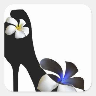 Adesivo Quadrado Elegante preto alto-colocou saltos calçados.