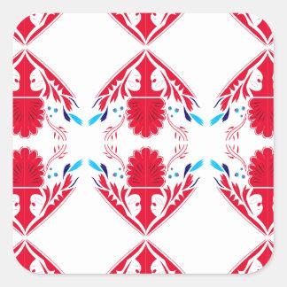 Adesivo Quadrado Elementos do design vermelhos no branco