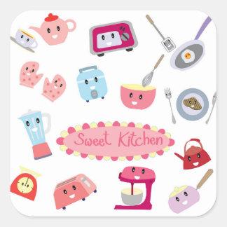 Adesivo Quadrado Eletricidade cor-de-rosa doce da cozinha e ícone