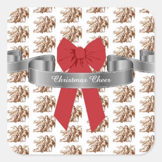 Adesivo Quadrado Elogio vermelho grande do Natal do arco e dos