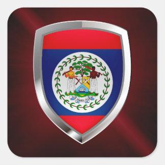 Adesivo Quadrado Emblema de Belize Mettalic